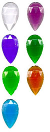 TEARDROP FACETED JEWELS - 40 x 24mm - (CLEAR AND ALL COLOURS)