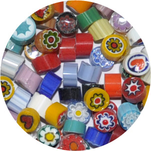 MILLEFIORI - TRANSPARENT & OPAQUE ASSORTMENT (SOLD PER OUNCE)