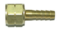 "BARBED HOSE NIPPLE WITH NUT - FOR FUEL GAS - 1/4"" HOSE"