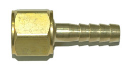 "BARBED HOSE NIPPLE WITH NUT - FOR OXYGEN - 1/4"" HOSE"