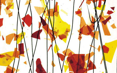 BULLSEYE AUTUMN: ORANGE, YELLOW & RED on CLEAR COLLAGE