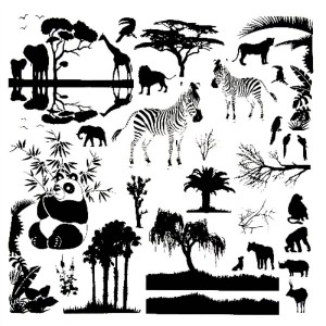 ON SAFARI - (BLACK) - 4 x 4 SHEET