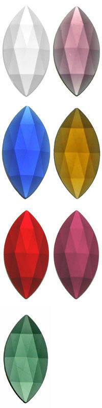 OVAL POINTED FACETED JEWELS - 30 x 15mm - (CLEAR AND ALL COLOURS)