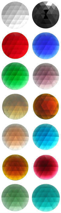 ROUND FACETED JEWELS - 15mm - (CLEAR AND ALL COLOURS)