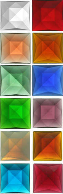 SQUARE FACETED JEWELS - 18mm - (CLEAR AND ALL COLOURS)
