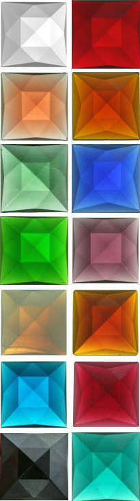 SQUARE FACETED JEWELS - 25mm - (CLEAR AND ALL COLOURS)