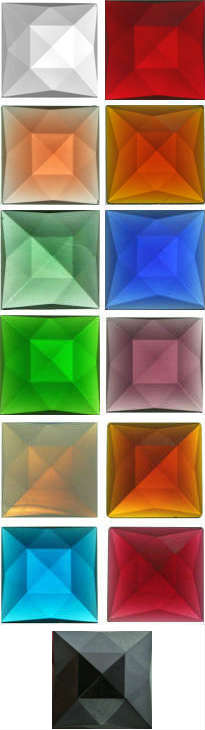 SQUARE FACETED JEWELS - 30mm (CLEAR AND ALL COLOURS)