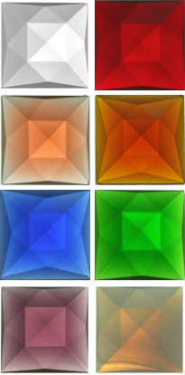 SQUARE FACETED JEWELS - 50mm (CLEAR AND ALL COLOURS)