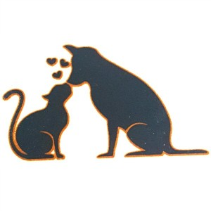 SILVER METALLIC & BLACK CAT AND DOG LOVE - HIGH FIRE (PKG OF 4)