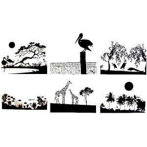 TROPICAL SCENES - BLACK - 4 x 4 SHEET