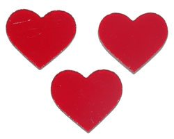 "PRE CUT FUSIBLE 1"" RED HEARTS - 96 COE"