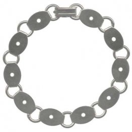 BRACELET with OVAL BLANKS - SILVER PLATED - 6 PACK