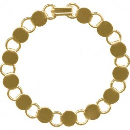 BRACELET with ROUND BLANKS - GOLD PLATED - 6 PACK
