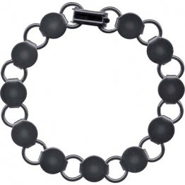 BRACELET with ROUND BLANKS - GUNMETAL - 6 PACK