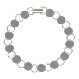 BRACELET with ROUND BLANKS - SILVER PLATED - 6 PACK