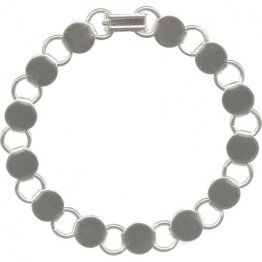 BRACELET with ROUND BLANKS - WHITE/SILVER TONE - 6 PACK
