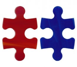 PRE CUT FUSIBLE PUZZLE PIECES (BLUE/RED) - 96 COE