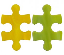 PRE CUT FUSIBLE PUZZLE PIECES (YELLOW/GREEN)  - 96 COE