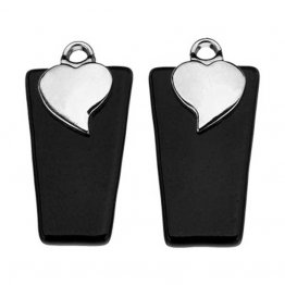 STERLING SILVER PLATED HEART EARRING BAILS - SMALL