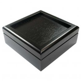 BLACK VELVET LINED HINGED BOX - 4.25""