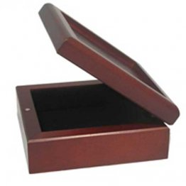 ROSEWOOD VELVET LINED HINGED BOX - 6""
